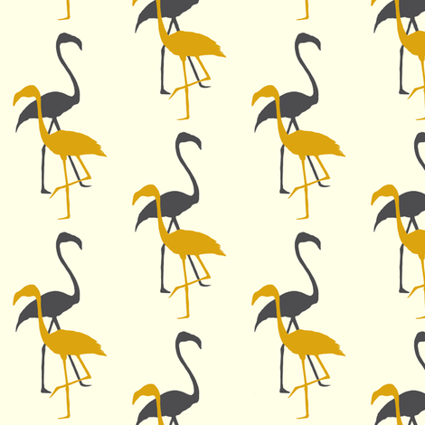 Flamingo silhouette in grey/yellow fabric by carrie_narducci on Spoonflower - custom fabric