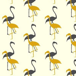 Flamingo silhouette in grey/yellow