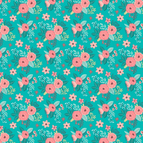 Vintage Antique Floral Flowers Mini Tiny Small fabric by caja_design on Spoonflower - custom fabric