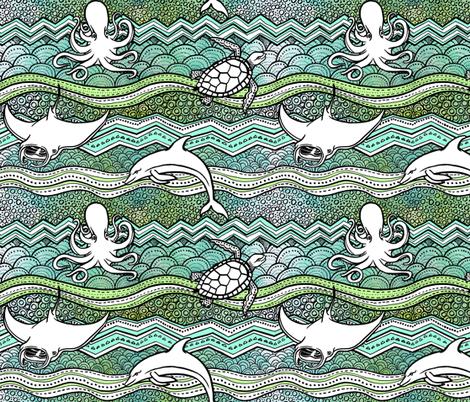 Ocean Dreams fabric by pinkowlet on Spoonflower - custom fabric