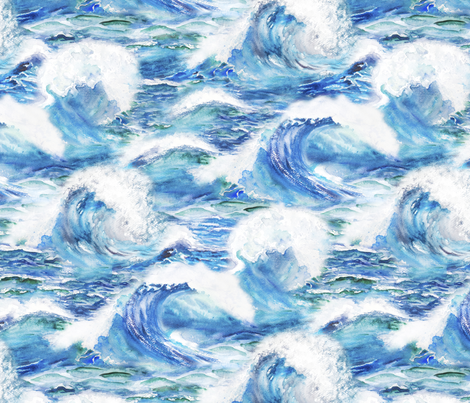 Ocean waves fabric by svetlana_prikhnenko on Spoonflower - custom fabric