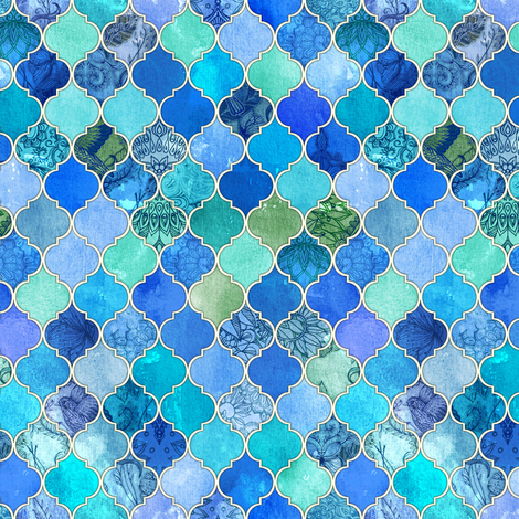 Cobalt Blue and Aqua Decorative Moroccan Tiny Print fabric by micklyn on Spoonflower - custom fabric