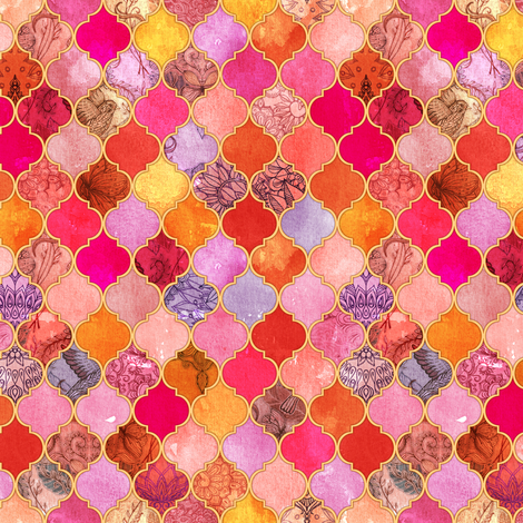 Hot Pink and Orange Decorative Moroccan Tiles Tiny Print fabric by micklyn on Spoonflower - custom fabric