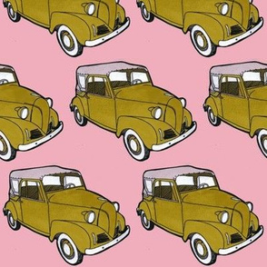 Tan 1939-1942 Crosley Convertible on pink