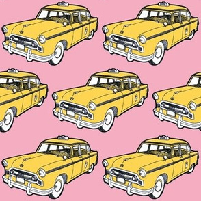 Fifties Checker taxi cab, yellow on pink