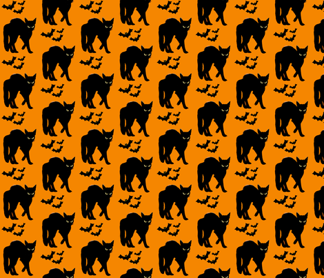 Halloween Cats and Bats fabric by hollywood_royalty on Spoonflower - custom fabric