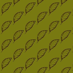 Drifting Autumn Leaves on Dark Olive - Small Scale