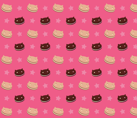 Cookie Cat fabric by whyaretherethings on Spoonflower - custom fabric