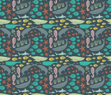 Ocean Creatures fabric by klingercreative on Spoonflower - custom fabric