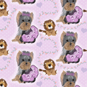 """Yorkie - Lila Loves Lilac  - 3"""" tall - Matching"""