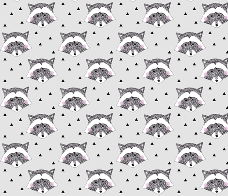 Racoon Grey fabric by stojdesign on Spoonflower - custom fabric