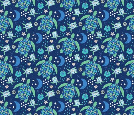 Turtle's Moonlit Walk fabric by designs_by_lisa_k on Spoonflower - custom fabric