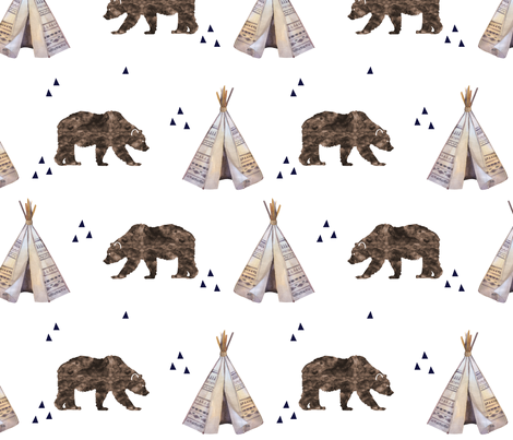 Watercolor Bears and Teepee  fabric by graceandcruzdesigns on Spoonflower - custom fabric