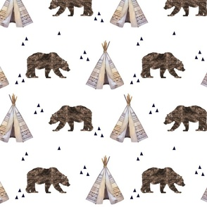 Watercolor Bears and Teepee