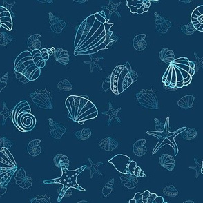 sea shells - navy batik