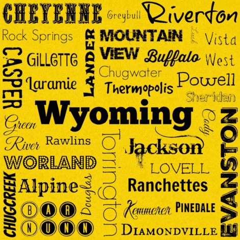 Cities of Wyoming, yellow fabric by svester on Spoonflower - custom fabric