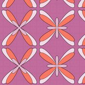 Abstract Dragonfly Floral (lilac/orange)