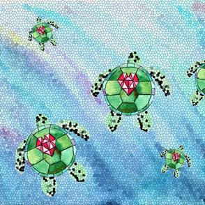 Watercolor Ocean Abstract Stained Glass Turtles