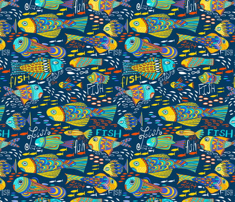 One Fish Two Fish Blue Fish fabric by kirstenkatz on Spoonflower - custom fabric