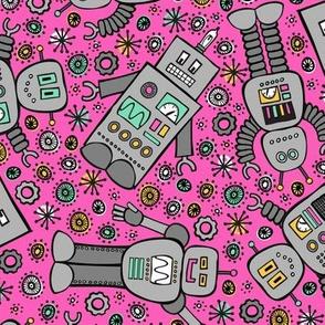 Retro Robots (Magenta)