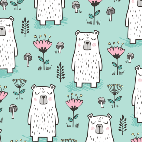Bear with Flowers Woodland on Mint Green fabric by caja_design on Spoonflower - custom fabric