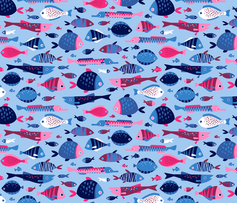 So many fish fabric by heleenvanbuul on Spoonflower - custom fabric