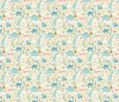dino garden fabric by laura_may_designs on Spoonflower - custom fabric