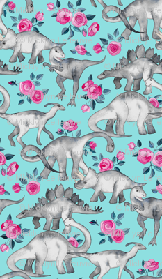 Dinosaurs and Roses on Turquoise large print
