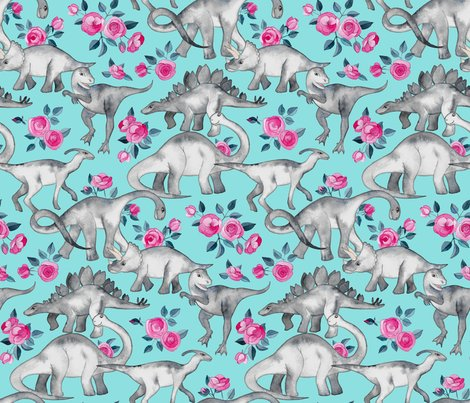 Rdino_floral_on_turquoise_spoonflower_shop_preview