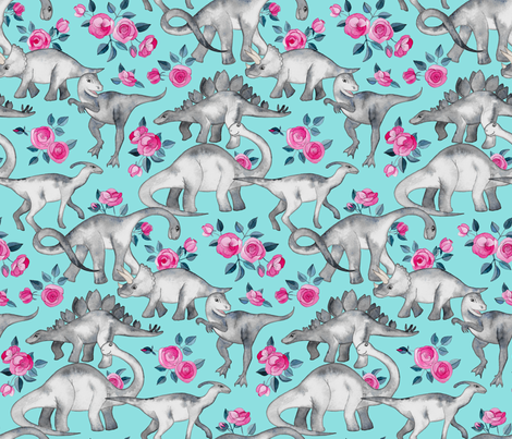 Dinosaurs and Roses on Turquoise large print fabric by micklyn on Spoonflower - custom fabric