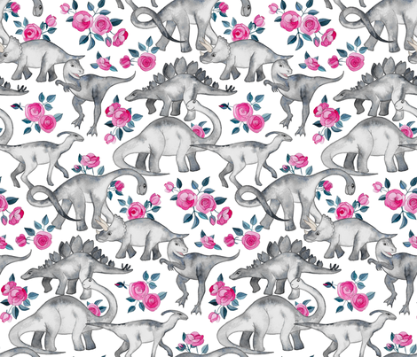 Dinosaurs and Roses on White large print fabric by micklyn on Spoonflower - custom fabric