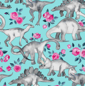 Tiny Dinosaurs and Roses on Turquoise small print