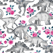 Tiny Dinosaurs and Roses on White small print