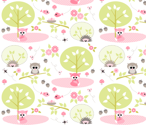 Woodland babies in pink fabric by heleenvanbuul on Spoonflower - custom fabric