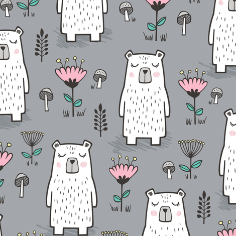 Bear with Flowers Woodland on Grey fabric by caja_design on Spoonflower - custom fabric