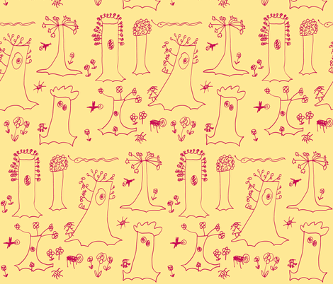 Sycamore Drawing (Red on Yellow) fabric by forestprojectkids on Spoonflower - custom fabric