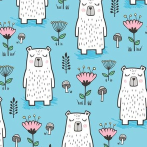 Bear with Flowers Woodland on Blue