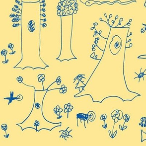 Sycamore Drawing (Blue on Yellow)