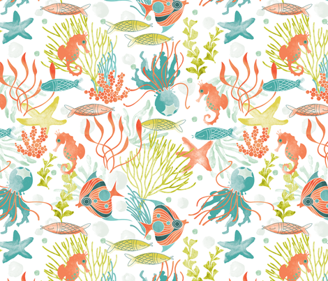 Life on the reef fabric by cjldesigns on Spoonflower - custom fabric