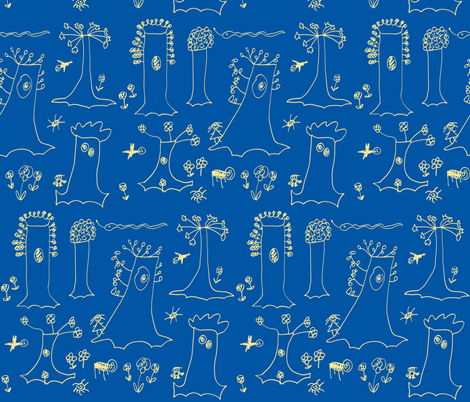 Sycamore Drawing (Yellow on Blue) fabric by forestprojectkids on Spoonflower - custom fabric