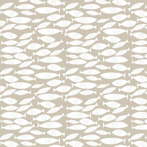 White Fish on Taupe (Beige, Graige, Neutral) Background