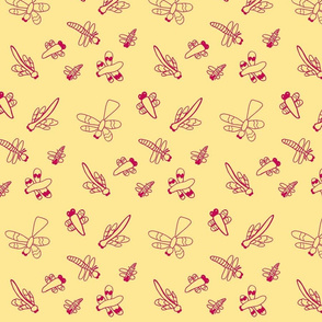 Dragonflies (Red on Yellow)