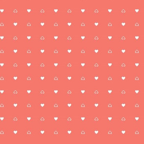Cute Little Hearts on Coral Background