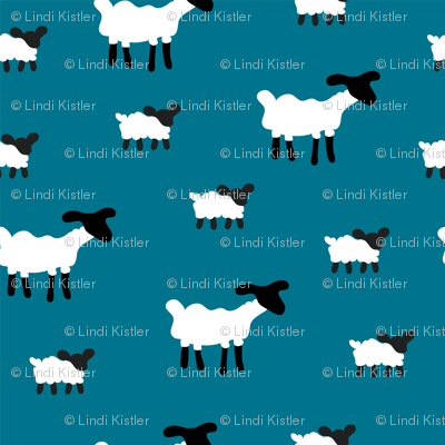 Sheep on Blue