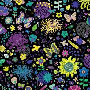 Japanese garden - Lemon, Aqua and Purple - medium-small