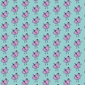 Business bird - Lilac on baby blue