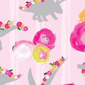 Pink Dinosaur Floral white stripe_Miss Chiff Designs