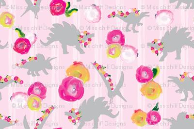 15-06J Blush Pink Girl Dinosaur Watercolor Floral white stripe gray grey _Miss Chiff Designs