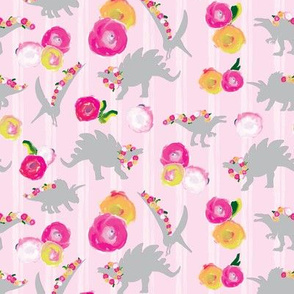 Blush Pink Girl Dinosaur Watercolor Floral white stripe gray grey _Miss Chiff Designs