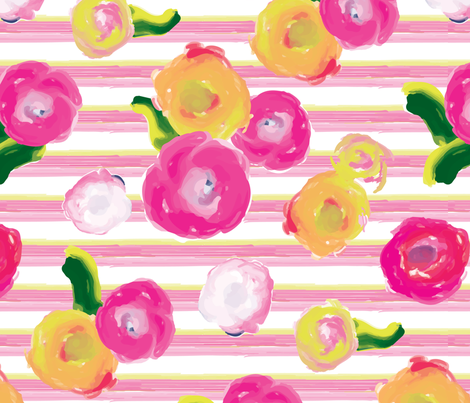 Painted Floral with Pink Painted Stripe_Miss Chiff Designs fabric by misschiffdesigns on Spoonflower - custom fabric